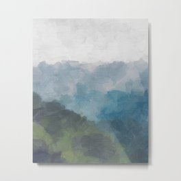 Abstract Painting, Gray, Blue, Navy, and Green Nature Mountain Hiking Print, Modern Wall Art Decor Metal Print