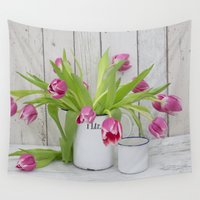 tulips Wall Tapestries featuring Tulips by LebensART Photography