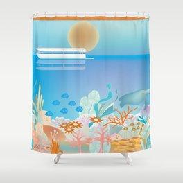 Great Barrier Reef, Australia - Skyline Illustration by Loose Petals Shower Curtain