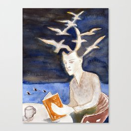 Fan art: woman reading by the sea of sharks at night Canvas Print