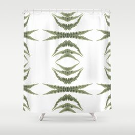 Fern Leaf Pattern on White Background Shower Curtain