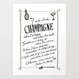 Champagne quote (Lily Bollinger) Art Print