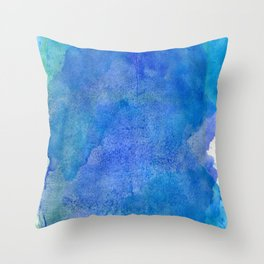 Hand painted abstract blue green watercolor brushstrokes Throw Pillow