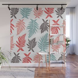 Inked Ferns – Red & Green Palette Wall Mural