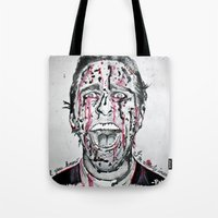 american psycho Tote Bags featuring American Psycho  by pmaiti