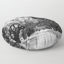 Spanish Moss on Southern Live Oak Trees black and white photograph / black and white art photography Floor Pillow