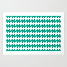 jaggered and staggered in emerald Art Print
