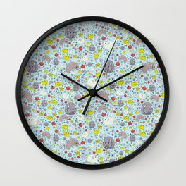 Pretty Rat and Mouse Pattern Wall Clock