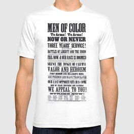 African American Freemen of Color Civil War Recruitment Broadside Advertising Poster T-shirt