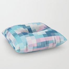 Mat Map Squares Aqua Floor Pillow