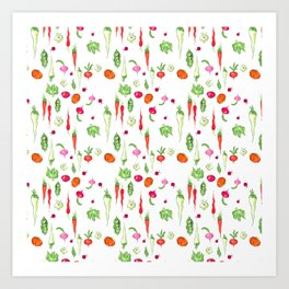 Veggie Party Pattern Art Print