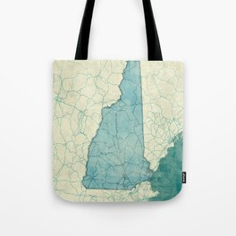 New Hampshire State Map Blue Vintage Tote Bag