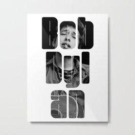Bob Dylan Font Black And White Metal Print