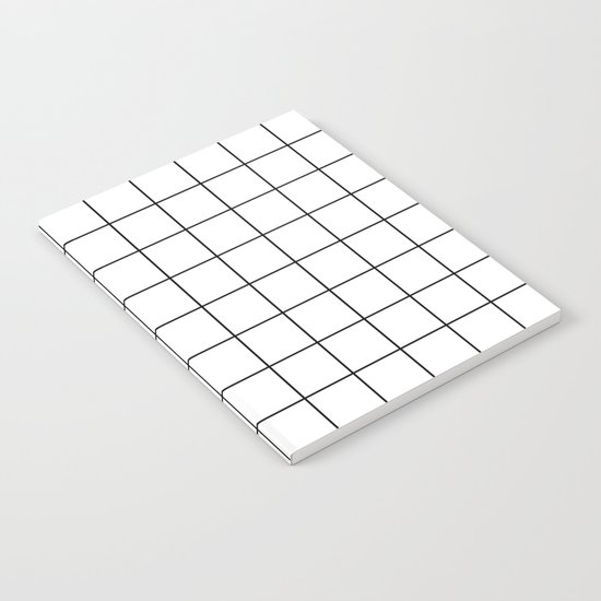 White Black Grid Minimalist Notebook