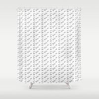 teen wolf Shower Curtains featuring Teen Wolf - Initial Pattern by Cammerel