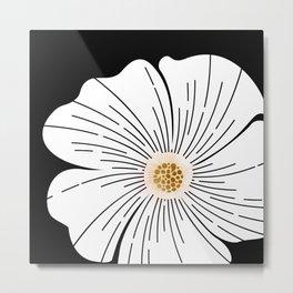 Black and White Blossom Metal Print