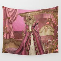 sleeping beauty Wall Tapestries featuring Sleeping Beauty by Fairytale Art