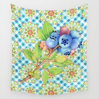 maine Wall Tapestries featuring Maine Blueberry Gingham Mandala by Patricia Shea Designs