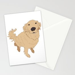 Golden Retriever Illustration on a White Background Stationery Cards