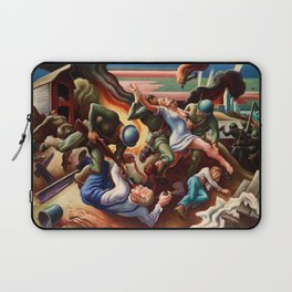 Classical Masterpiece 'WWII Depiction - Blood and Fire' by Thomas Hart Benton Laptop Sleeve