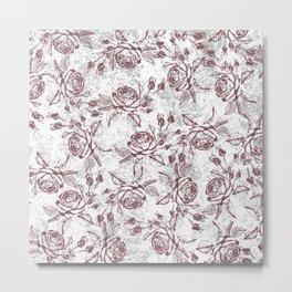 Vintage white gray burgundy floral marble Metal Print