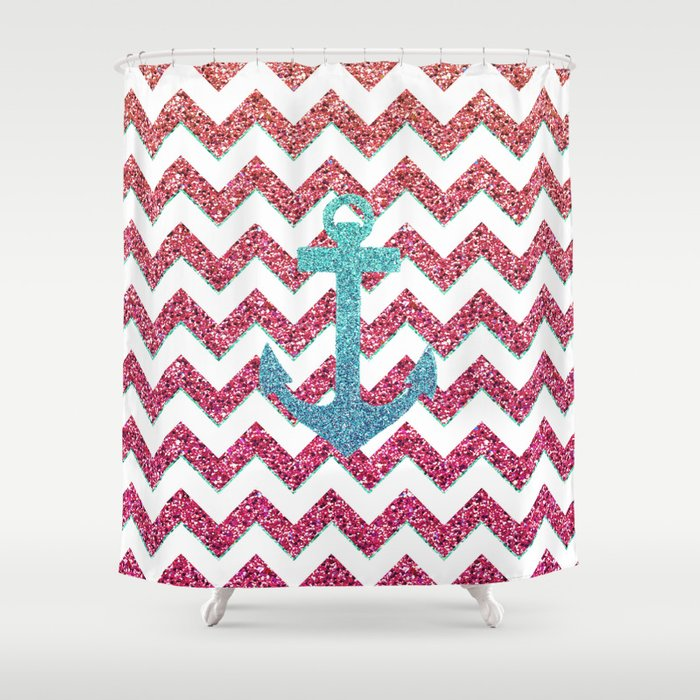 Teal Faux Glitter Anchor Girly Red Ombre Chevron Shower Curtain