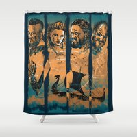 vikings Shower Curtains featuring Vikings by RicoMambo