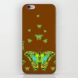 GREEN-YELLOW MOTHS ON COFFEE BROWN iPhone Skin