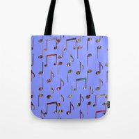 music notes Tote Bags featuring Music Notes by pugmom4