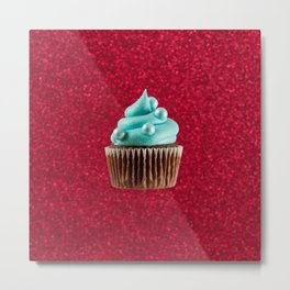 Cupcake Love - Blue Pearls on Red Sparkle Metal Print