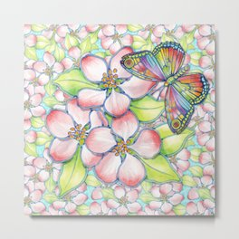 Rainbow Butterfly Blossoms Metal Print