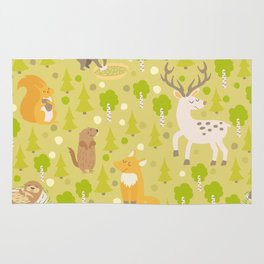Cute animals seamless pattern. Cute pattern for kids. Rug