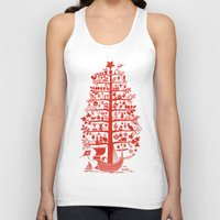 blankets Tank Tops featuring CHRISTMAS TREE red ITINERANT by Chicca Besso