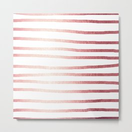 Simply Drawn Stripes Rose Gold Twilight Metal Print
