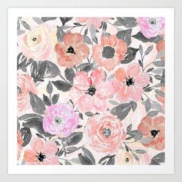 Elegant simple watercolor floral Art Print