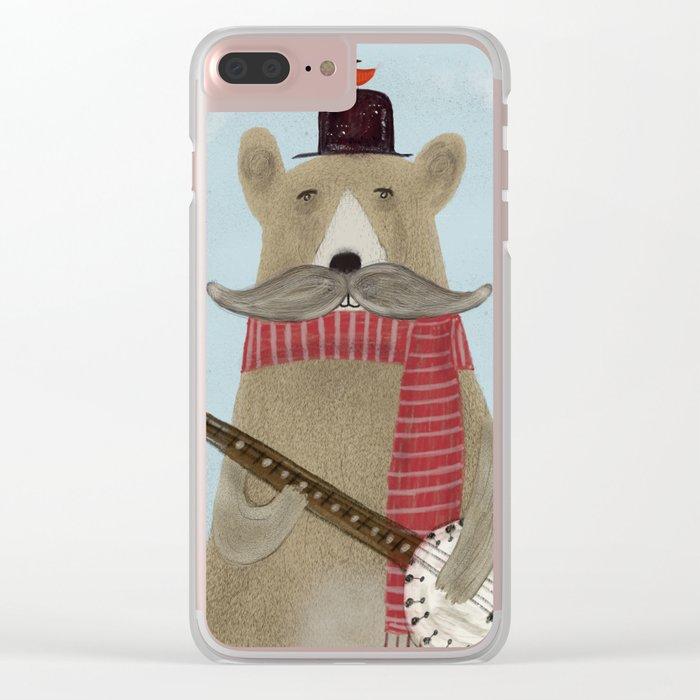 Moustache bear Clear iPhone Case