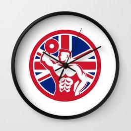British Fitness Gym Union Jack Flag Icon Wall Clock