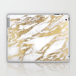 Chic Elegant White and Gold Marble Pattern Laptop & iPad Skin