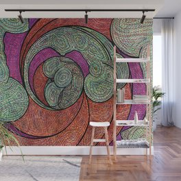 Green Orange and Purple Downward Spiral Wall Mural