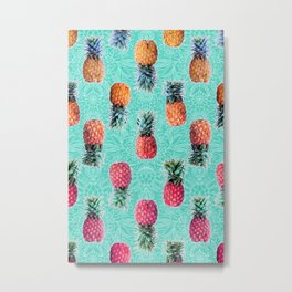 From Pineapple to Pink - tropical doodle pattern on mint Metal Print