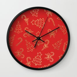 Elegant Christmas Red Faux Gold Foil Candy Cane Tree  Wall Clock