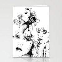 stevie nicks Stationery Cards featuring Trois Stevie by Lynette K.