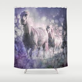 Blue Wild Horses Mixed Media Art Shower Curtain