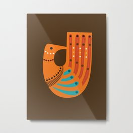 Mid-century Illustrated Bird No. 4 Metal Print