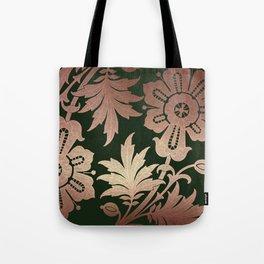 Black and Rose Gold  Floral Tote Bag