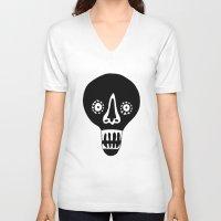skulls V-neck T-shirts featuring Skulls by KatrinDesign