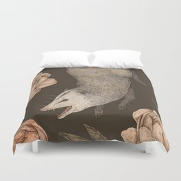 The Opossum and Peonies Duvet Cover