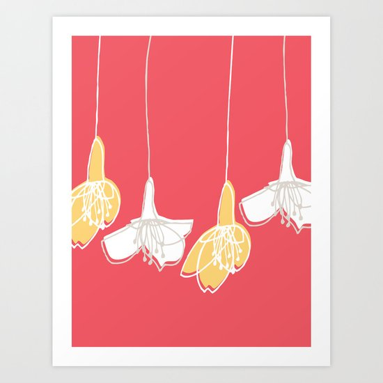 Cherry Blossom: Red Art Print