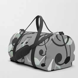 Many Music Notes with clef grey and black Duffle Bag