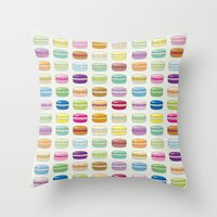 macaroon Throw Pillows featuring Colorful macaroon set by MiartDesignCreation